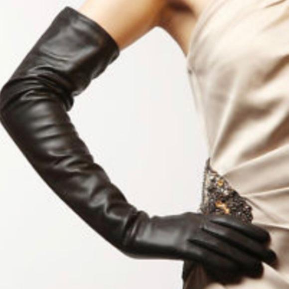 NEW MENS size 7.5 BLACK PATENT GENUINE LAMBSKIN LEATHER DRESS GLOVES-SILK LINING